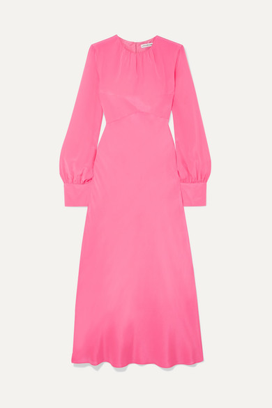 LES RÊVERIES Gathered Silk Crepe De Chine Maxi Dress in Pink