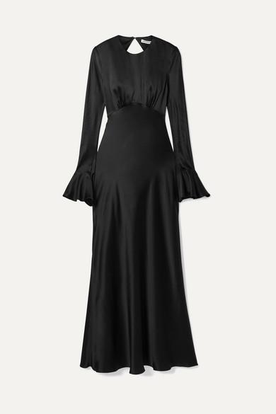 LES RÊVERIES Open-Back Silk-Satin Maxi Dress in Black