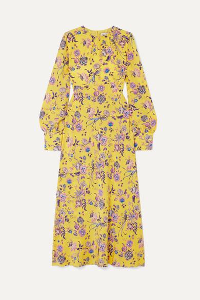LES RÊVERIES Floral-Print Silk Crepe De Chine Dress in Yellow