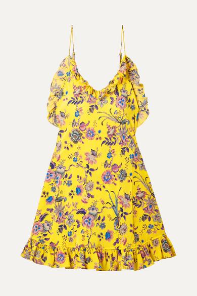 LES RÊVERIES Ruffled Floral-Print Silk-Crepe Mini Dress in Yellow