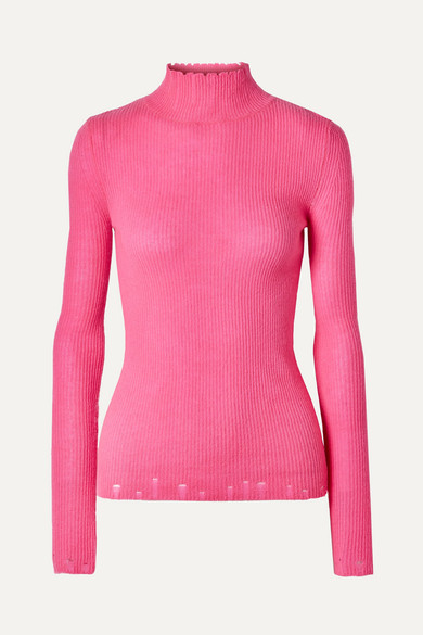 LES RÊVERIES Distressed Cashmere Turtleneck Sweater in Pink