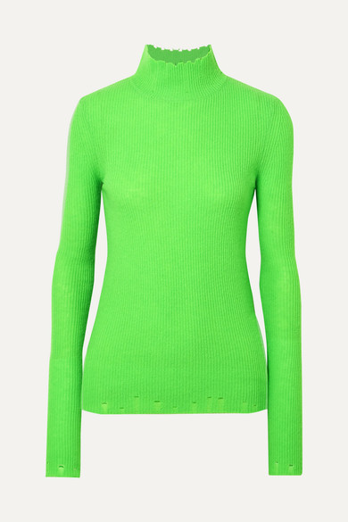 LES RÊVERIES Distressed Ribbed Cashmere Turtleneck Sweater in Green