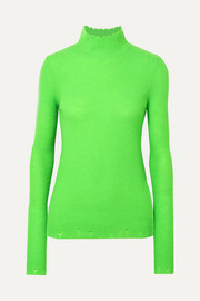 Les Rêveries Distressed ribbed cashmere turtleneck sweater