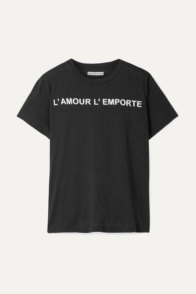 LES RÊVERIES Printed Cotton And Cashmere-Blend T-Shirt in Black