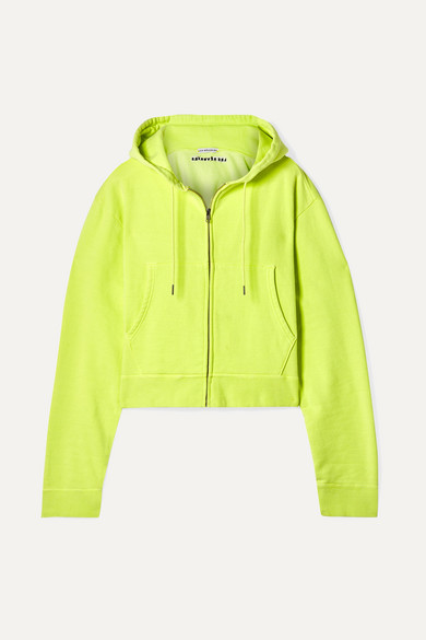 LES RÊVERIES Cropped Embroidered Cotton-Jersey Hoodie in Chartreuse