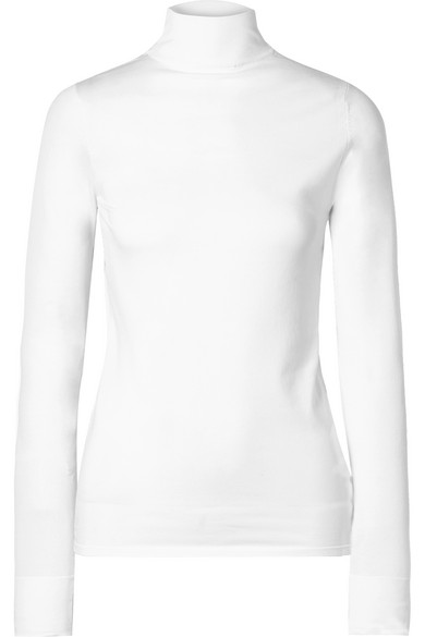 LES RÊVERIES Stretch-Knit Turtleneck Top in White