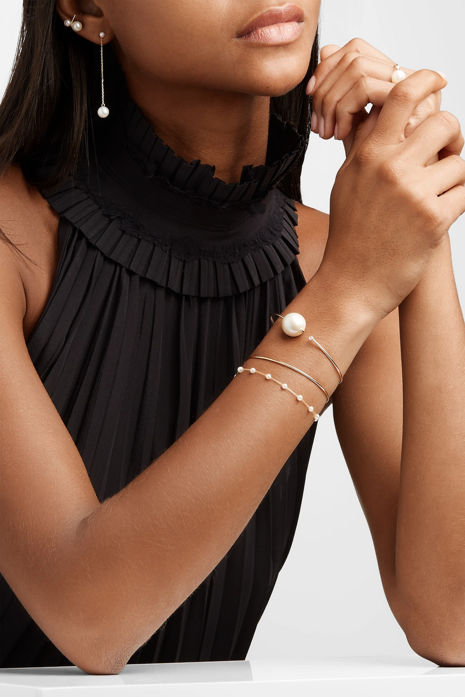 Mizuki 14-karat gold pearl bracelet
