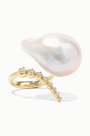 Mizuki 14-karat gold, pearl and diamond ring