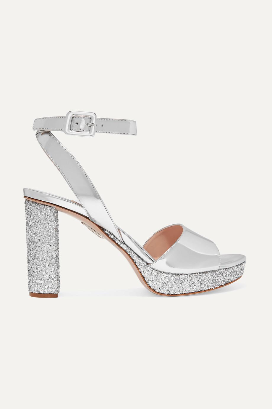 Miu Miu Glittered mirrored-leather platform sandals
