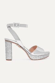 Miu Miu Glittered mirrored-leather platform sandals