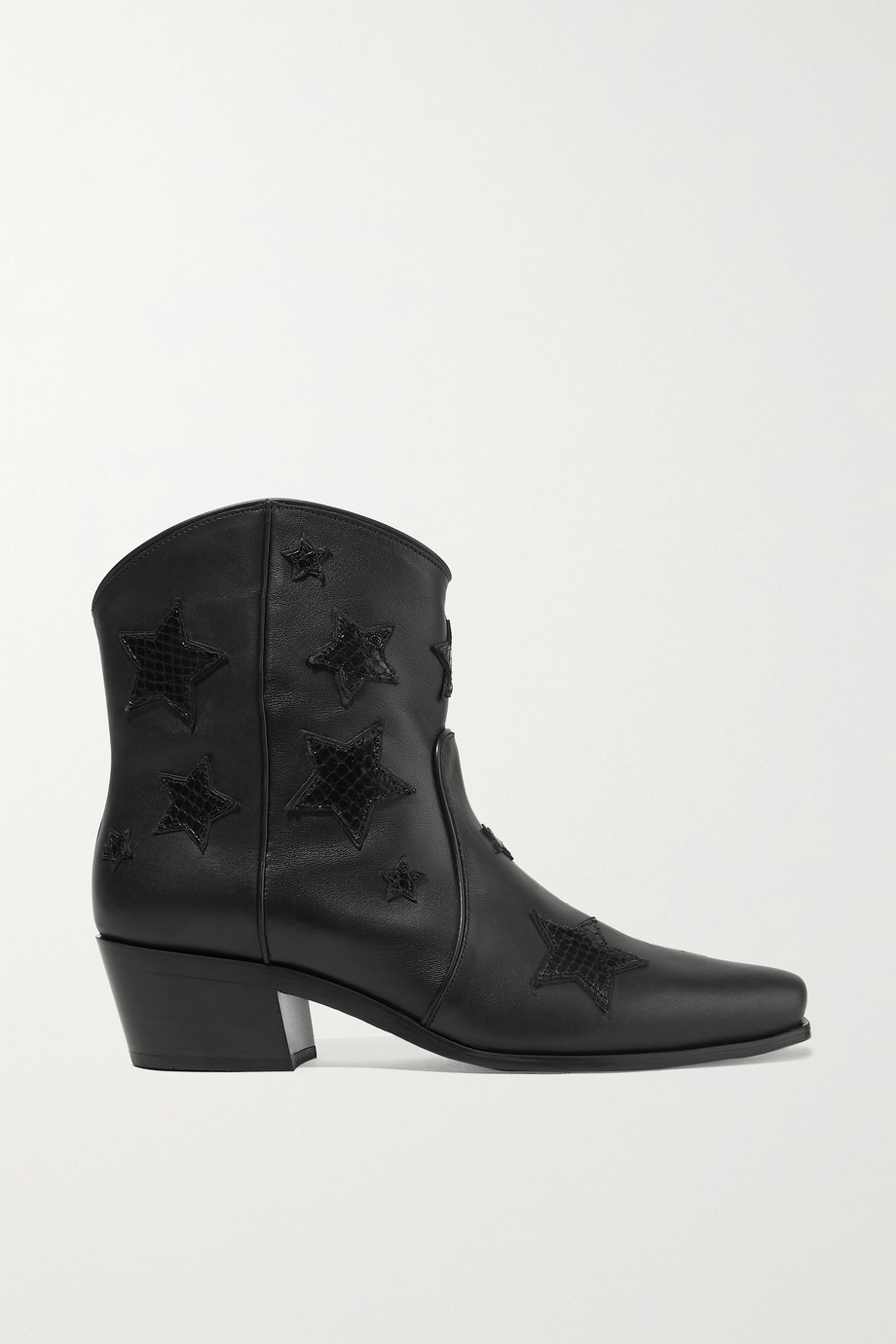 Miu Miu Embroidered smooth and snake-effect leather ankle boots