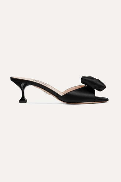 Bow-Embellished Satin Mules in Black