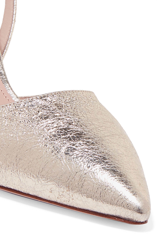 Miu Miu Escarpins en cuir texturé métallisé à cristaux