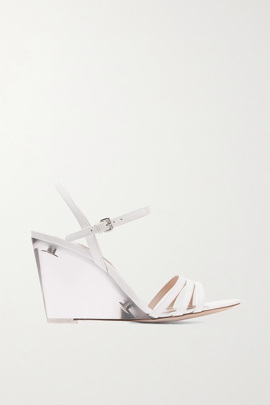 Miu Miu Perspex and leather wedge sandals
