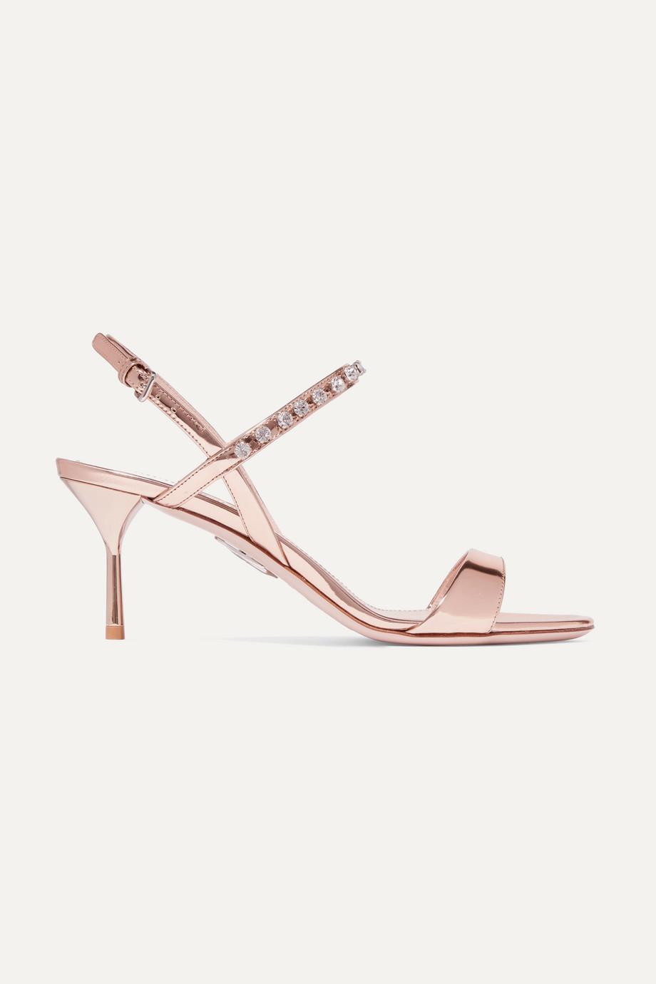Miu Miu Slingback-Sandalen aus Metallic-Lackleder mit Kristallen