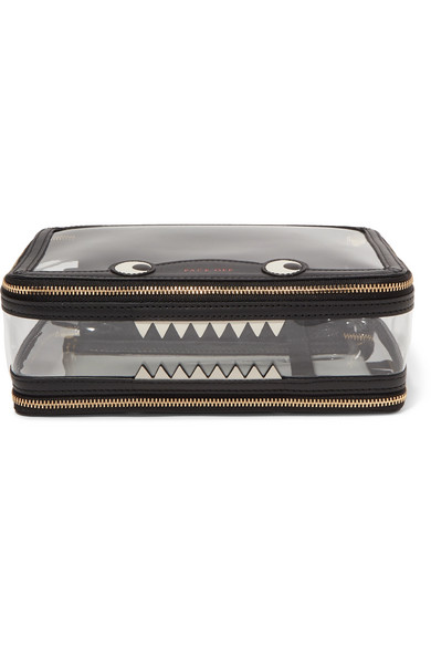 Monster Inflight Leather-Trimmed Perspex Cosmetics Case - Black