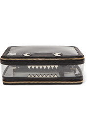 Monster Inflight leather-trimmed Perspex cosmetics case