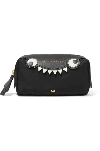 Monster Printed Leather-Trimmed Shell Cosmetics Case - Black