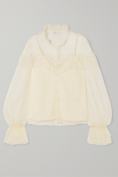 ALICE MCCALL | Alice McCALL - Just Right Ruffled Point D'esprit Tulle Blouse - Cream | Goxip