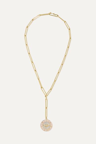 FOUNDRAE 18-Karat Gold, Diamond And Enamel Necklace