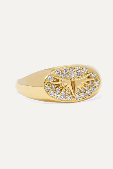 FOUNDRAE Baby Wings 18-Karat Gold Diamond Signet Ring