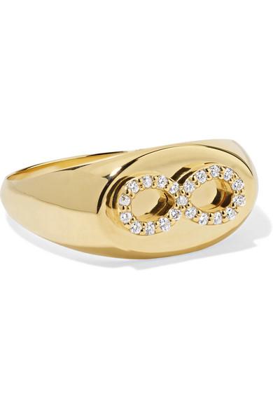 FOUNDRAE Baby Infinity 18-Karat Gold Diamond Signet Ring