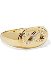 Baby Infinity 18-karat gold diamond signet ring