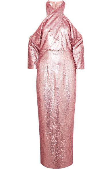 SAFIYAA Sequined Crepe Halterneck Midi Dress in Pink