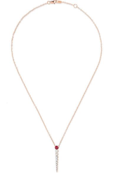 MELISSA KAYE Aria 18-Karat Rose Gold, Diamond And Ruby Necklace
