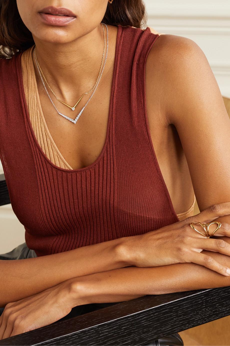 Melissa Kaye Aria Kette in V-Form aus 18 Karat Gold mit Diamant