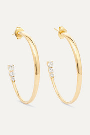 Aria 18-karat gold diamond hoop earrings