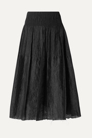 Waisted smocked brocade midi skirt