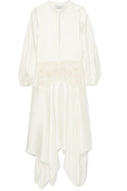 Marques' Almeida Asymmetric embroidered tulle and silk-charmeuse dress