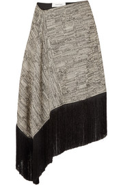 Asymmetric fringed cotton-blend midi skirt