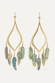 14-karat gold, diamond and shell earrings