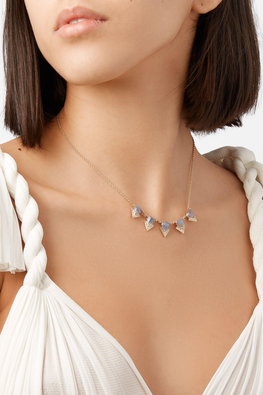 Jacquie Aiche 14-karat gold, diamond and labradorite necklace