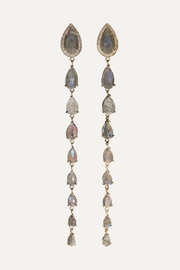 14-karat gold, diamond and labradorite earrings