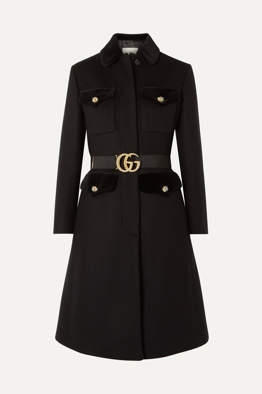 Gucci Belted velvet-trimmed wool-blend felt coat