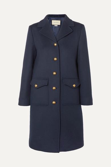 GUCCI | Gucci - Embellished Wool-felt Coat - Navy | Goxip