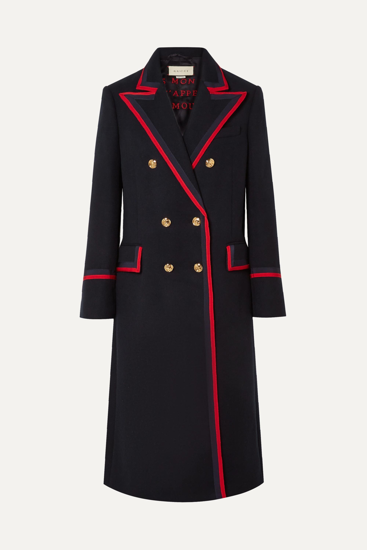Gucci Grosgrain-trimmed wool-blend coat