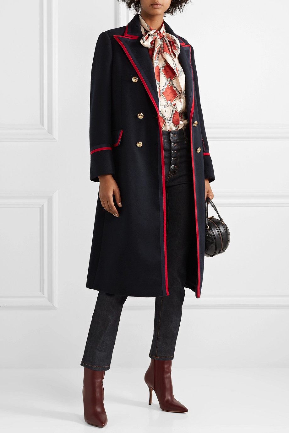 Gucci Grosgrain-trimmed wool-blend coat