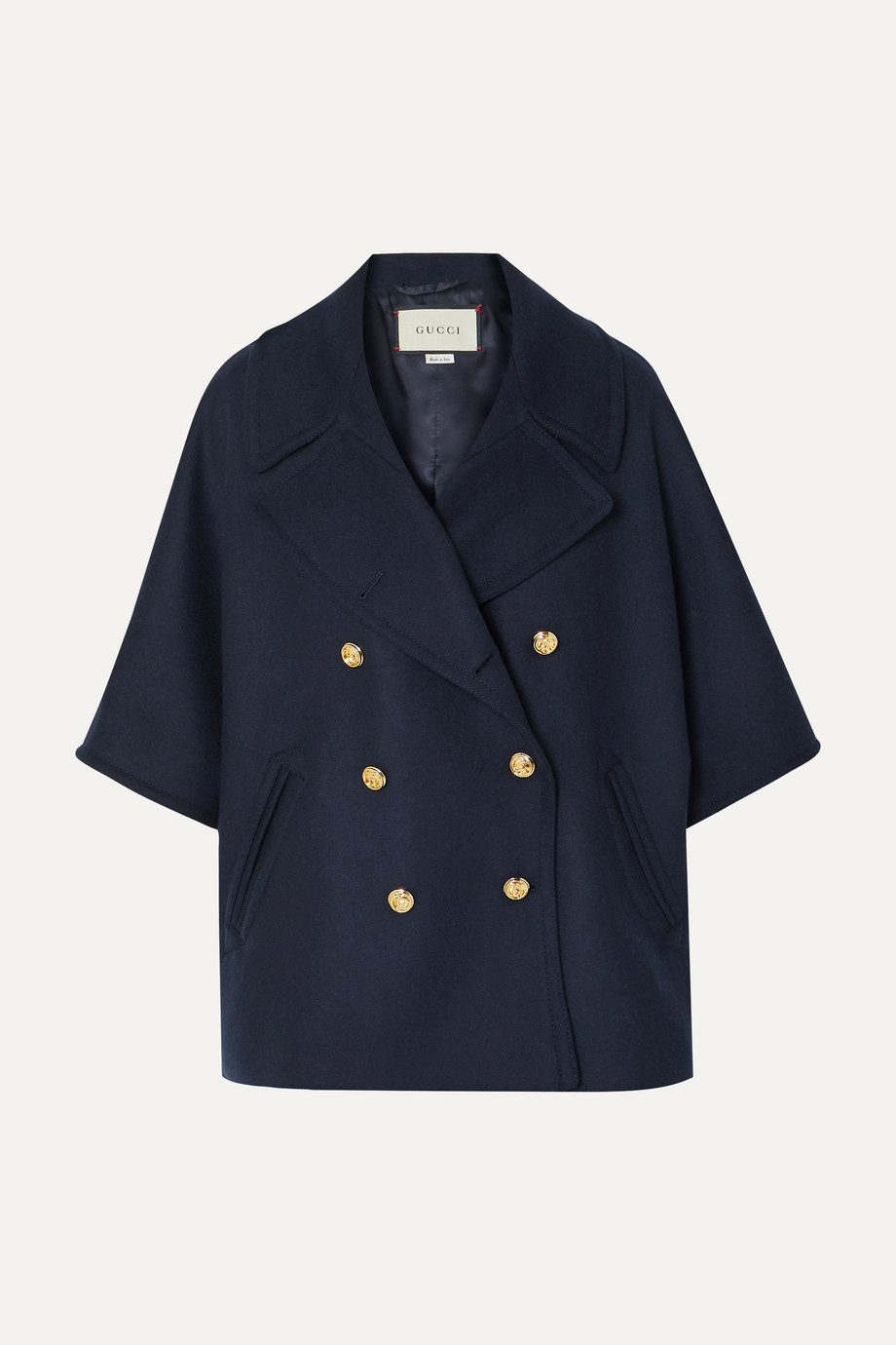 Gucci Cape-effect double-breasted wool-blend felt coat
