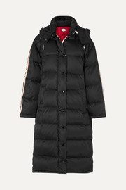 Oversized intarsia-trimmed quilted shell down coat