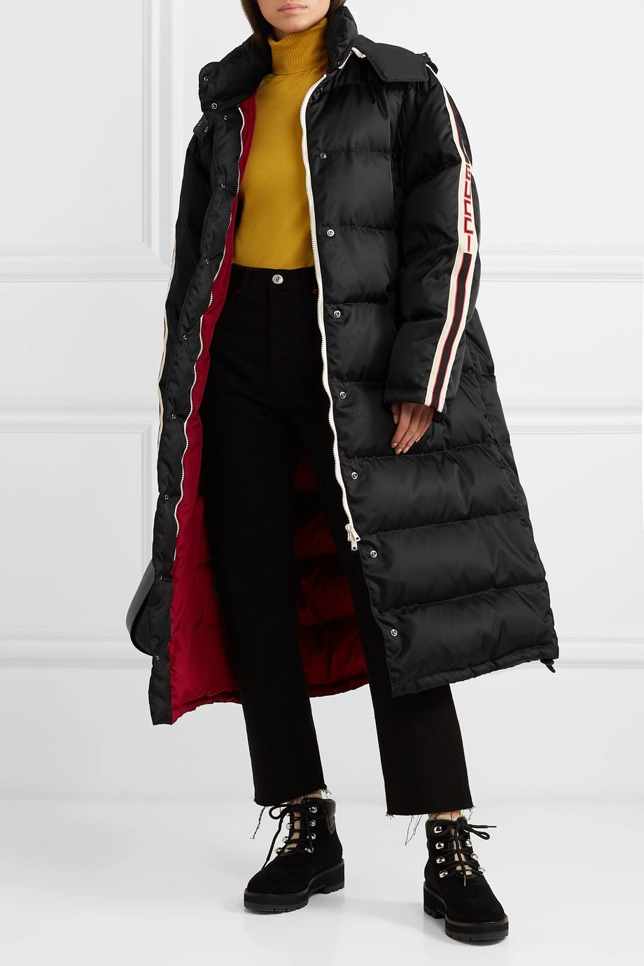 Gucci Oversized intarsia-trimmed quilted shell down coat