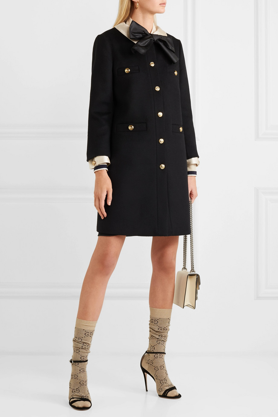 Gucci Silk satin-trimmed wool-felt coat