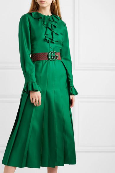 Gucci Dress Belted ruffle-trimmed pleated silk-twill dress
