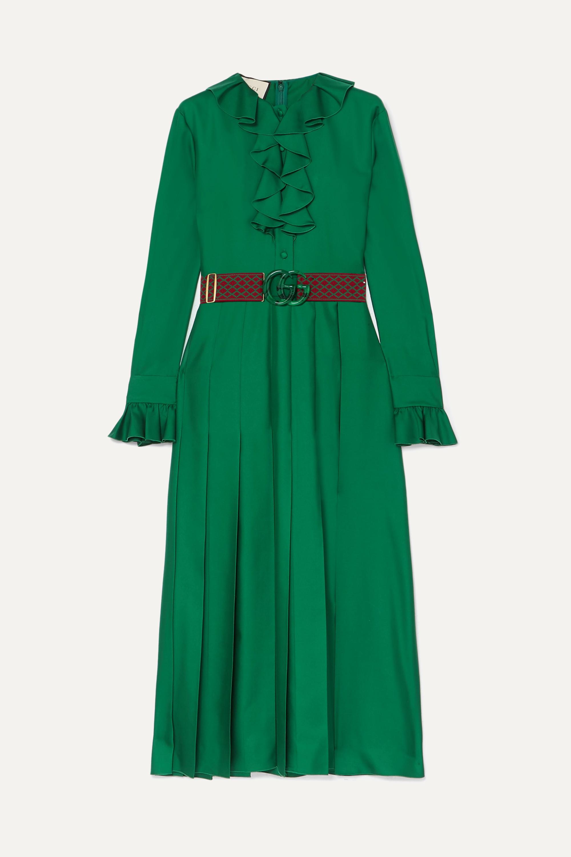 Kleid aus Seiden-Twill mit Gürtel, Rüschen und Falten