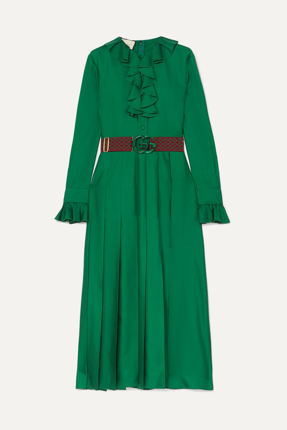 Gucci Belted ruffle-trimmed pleated silk-twill dress