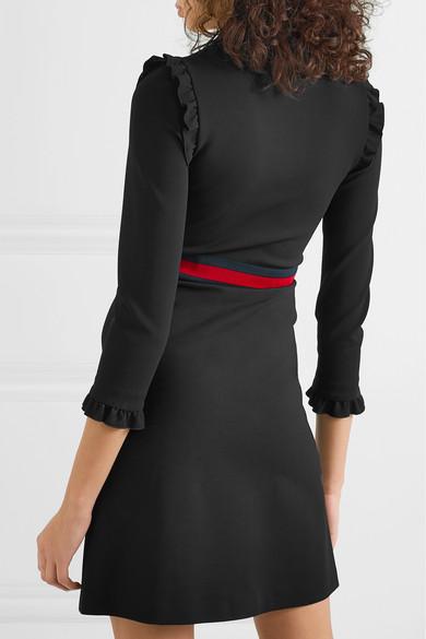 Gucci Dress Ruffled grosgrain-trimmed stretch-cady dress