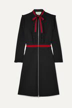 Gucci Ruffled grosgrain-trimmed stretch-cady dress 5df32bb4181c